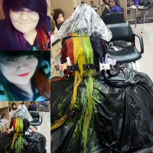 Pics of my hair being dyed rainbow.
