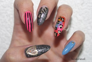 """Products I used for this nail design: """"Base Coat"""" by Canmake Nr. 79240- 711 by LCN (gold) """"Hot Pink Obsession"""" by Ruby Kisses Nr. 749 by Maybelline New York (yellow) """"Hi Def"""" (SE 272) by Sephora by OPI """"Are we there yet?"""" (NL T23) by OPI """"charming"""" (530) by p2 (blue) """"black dia"""" (002) by Salon Creative Nail """"black"""" by L.A. Colors, Art Deco"""