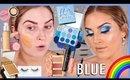 BLUE Cut Crease Tutorial w GLOWY SKIN 💦🌈 Rainbow Series