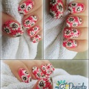 Spring One Stroke flowers nail art