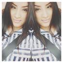 Stripe dress and straight hair.