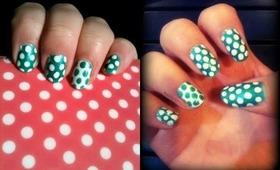 NAV ❘ Green & White Polka Dot Nail Art Tutorial