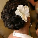 Curled updo on short hair...by Calista Brides Hair & Makeup Artistry