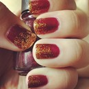 Red and Gold Glitter tips/gradient