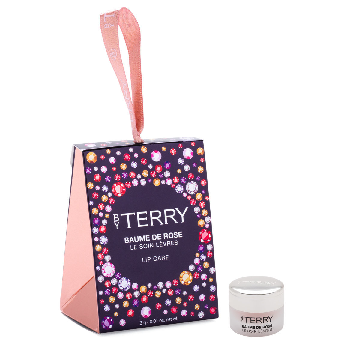 BY TERRY Gem Glow Baume De Rose Lip Care product smear.