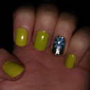 Lime green with flower nail sticker on accent nail