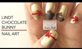 Easter Lindt Chocolate Bunny Nail Art