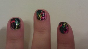 "My ""lisa frank"" nails. Excuse the quality! I was on my way to teaching a class when I snapped this."