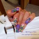 Purple Multicolor Dots Spring Nails