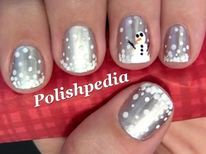 This was a fun design to do and since I live in the South I rarely get to build snowmen.  Watch My Video Tutorial @ http://polishpedia.com/snowman-nail-art.html