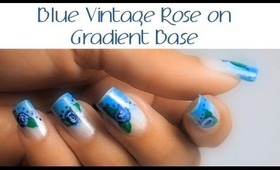 Blue Vintage Floral with Gradient (Ombre)