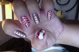 Gift wrap nails and Frosty the Snowman