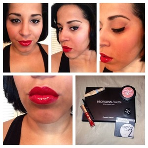 red lips with a light brown smokey eye