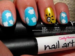 Nail Tutorial: Mr. Blue Sky featuring Sally Hansen Nail Art Pens