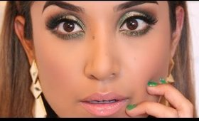 Gold and Green Eye Look + Full Face Makeup Tutorial | Holiday 2014