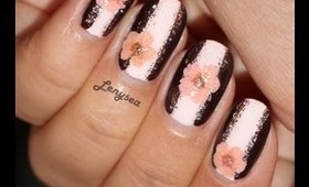 Easy Pink & Brown Summer Floral Nail Design