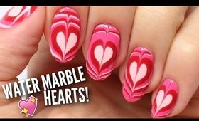 NAIL HACK: Water Marble Heart Nails!