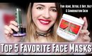 Top 5 Favorite Face Masks for Acne, Dry, Oily & combination skin | Detox clay masks