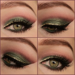 I used: pigment 'zen' bij zoeva on the lid, other eyeshadow colors from the ultra mattes v2 palette. Lashes are red cherry #47. Gold glittereyeliner bij NYX. Follow me on instagram: http://instagram.com/makeupbyeline/