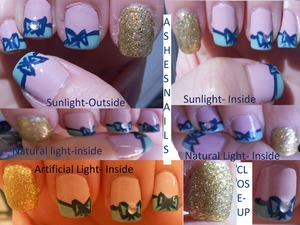 Taking a trip to San Fran and this is the nail design I decided to wear. I love the layered glitter. It is 2 layers of Blonde Bombshell from China glaze with a layer of shine of the times by essie over it. Misa nail polish- catch a flick and Opi's - My very first knockwurst and Ski til we drop