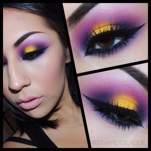 Products used: MAC chrome yellow shadow, Sugarpill poison plum + dollipop + bulletproof shadows, Act 5 Cosmetics black gel liner and Aura Lashes in 'so cute'.  Facebook: Makeup by Starrly Instagram + Twitter: @StarrlyGladue www.starrlygladue.com