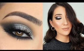 BLACK AND SILVER SMOKEY EYE   NEW YEARS EVE MAKEUP TUTORIAL