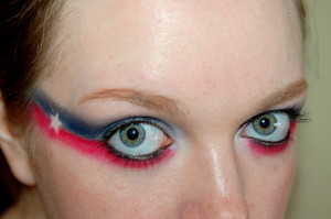 Superhero Series: Captain America. (or bold 4th July look!) Tutorial here: http://www.youtube.com/watch?v=HMqEcmO-3Y0
