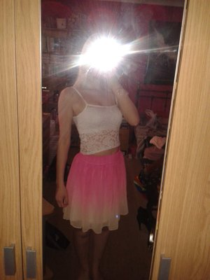 White top from misguided and ombre skirt from ask