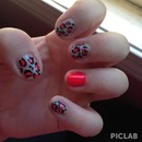 Neon coral & neutral leopard