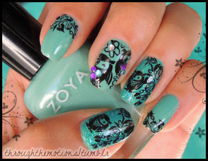 Base: Zoya .:. Wednesday   Ring/Thumb: Sinful Colors .:. Nail Junkie   Stamping Color: Sinful Colors.:. Nail Art Time Off   Plate: Bundle Monster BM 309