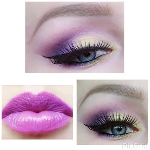 purple look.. products used *Shany Cosmetics?Eyeshadow Palette, Bold and Bright Collection, Vivid, 120 Color.- N.Y.C liquid liner,- lashes (forgot name) brows- Anastasia dip brow pomade in blonde
