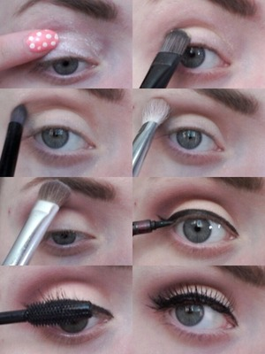 Thought I'd share some pictures of how I do a pin up inspired eye look.  STEP 1: Prime and blend out.  STEP 2: Apply nude/peach colour all over lid.  STEP 3: Apply a medium brown and soft red with orange tones in the crease.  STEP 4: Blend out.  STEP 5: Apply white eyeshadow on the browbone to hightlight, blend out.  STEP 6: Apply liner.  STEP 7: Apply mascara.  STEP 8: Apply false eyelashes (optional).