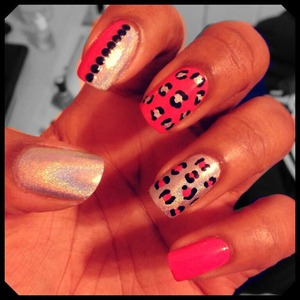 Pink and silver holographic cheetah prints with studs!