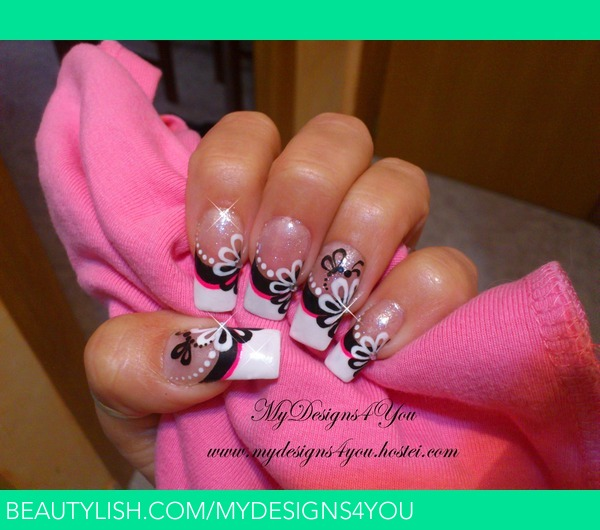 Black And White Flower French Nail Design Liudmila Zs