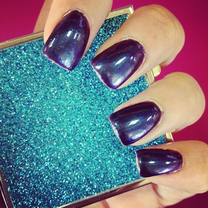 Love this color- its a purple blue color and looks metallic!! Also love this blue glitter compact mirror by HOOF!!! http://www.facebook.com/pages/HOOF/235593889861478