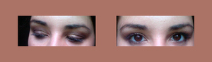 These pictures do not do this look any justice. Because of it being summer - I wanted to keep the smokey look light and shimmery. Sadly, the nice shimmer and light browns don't show up so well in these shots. :( But you can try this if you'd like. Its the