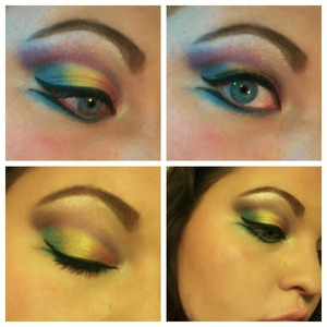 A look I created for a makeup challenge I am taking part in. I wish my camera would show just how vibrant this was! All matte except for the eyebrow highlight :)