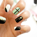 Edgy Black, White and Mint Nails