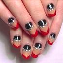 • Angled Nails with Rhinestones •