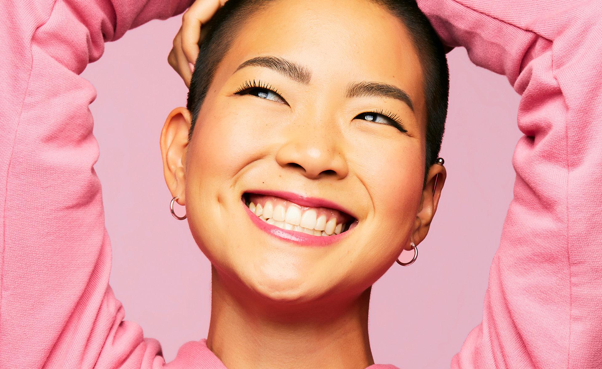 Model wears Benefit Gogotint Lip  & Cheek Stain