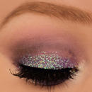 Purple smokey eyes with glitter