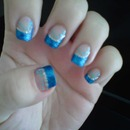 Blue Glitter French Design