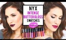 NYX INTENSE BUTTER GLOSS LIP SWATCHES ALL 12 SHADES ♡ JamiePaigeBeauty