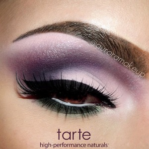 """Eye Primer: Deluxe-size lifted eye shadow primer by #tartecosmetics Brow Bone & since Inner corner up to center of the Eyelid : Soft Pink Matte eye shadow from """"NeutralEYES eyeshadow palette Volume II"""" by @tartecosmetics Crease: Dark Purple Matte Eyeshadow same palette Outer Mobile Eyelid and Socket : Dark Blue Matte eye shadow same palette Below Lower Lashes: Dark Green eye shadow same palette  Eyeliner: Aqualillies Amazonian Clay Waterproof Liner in BLACK by #tartecosmetics (amazing eyeliner brush included) Mascara: lights, camera, lashes 4-in-1 mascara in BLACK by #tartecosmetics  Lashes: NOIR FAIRY by @houseoflashes"""