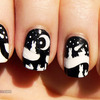 Black and white nails: little bunnies at night