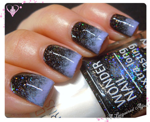 IsaDora Bella Vita sponged over Black Galaxy.  Details on the blog: http://www.alacqueredaffair.com/IsaDora-Black-Galaxy-Bella-Vita-29990644