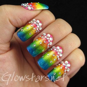 Read the blog post at http://glowstars.net/lacquer-obsession/2014/11/rhinestone-and-glass-fleck-gradient/