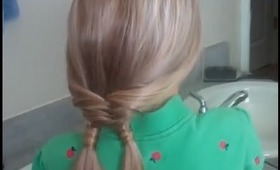 Fishtail Braid into Double Hair Wrapped Ponytails