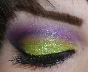 Lime Greenish Yellow/Purple cut crease