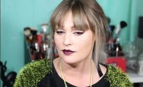 Oxblood lips Contoured Eye Makeup Tutorial
